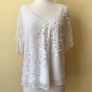 Jkara Ivory Beaded Cold Shoulder Blouse